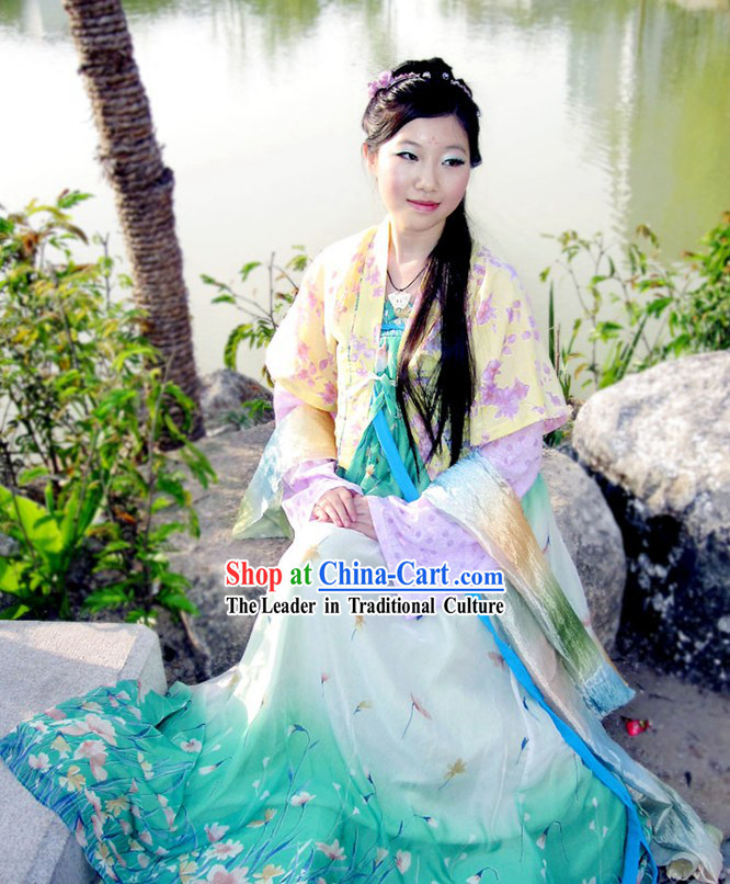 Hand Painted Tang Dynasty Hanfu Ruqun Historical Dress