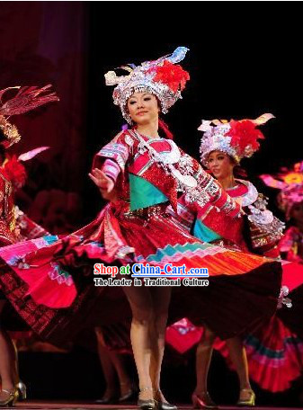 Chinese Miao Dance Costumes and Hat Set