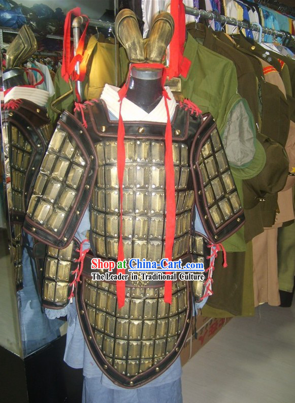 Chinese Qin Dynasty Period TerracottaTerra Cotta Warrior Armor Costume and Headpiece Complete Set for Men
