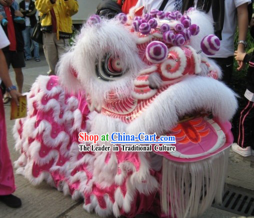 Top White Long Happy Lion Dance Costumes Complete Set