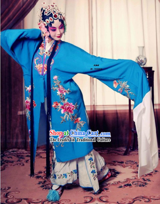 Chinese Beijing Opera Blue Hua Dan Women Costumes and Pants