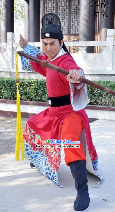 Ancient Chinese Zhan Zhao Swordsman Costumes and Hat