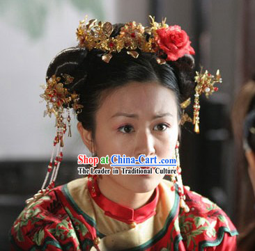 Ancient Chinese Wedding Hair Accessories and Earrings Complete Set