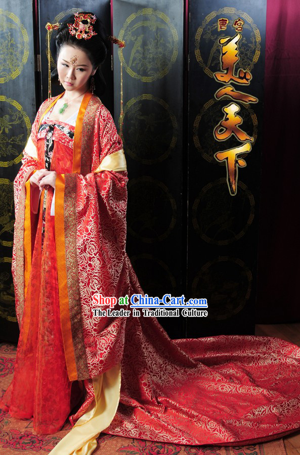 Genuine Chinese Tang Dynasty Wedding Clothing Complete Set