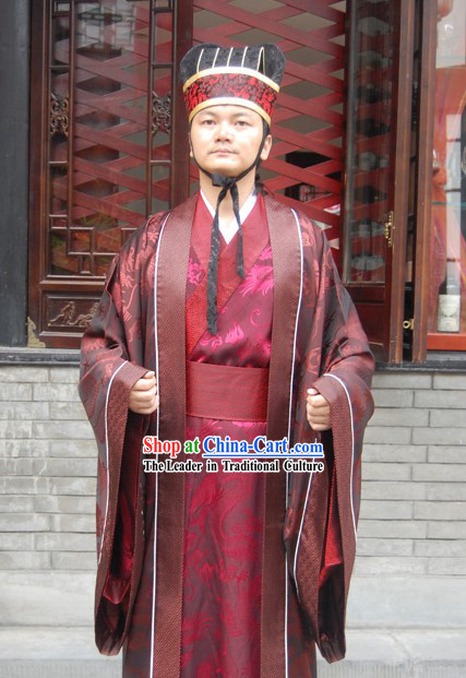 Ancient Chinese Prime Minister Clothing and Hat Set