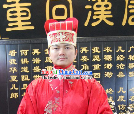Ancient Chinese Wedding Dress and Hat for Men