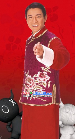 Traditional Chinese Wedding Bridegroom Tang Dress Complete Set