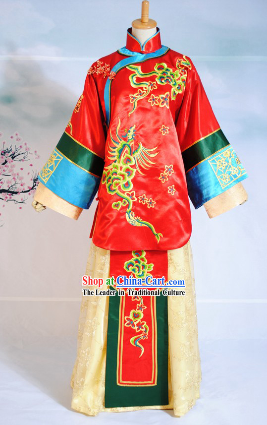 Chinese Hand Made Bride Phoenix Wedding Dress Complete Set