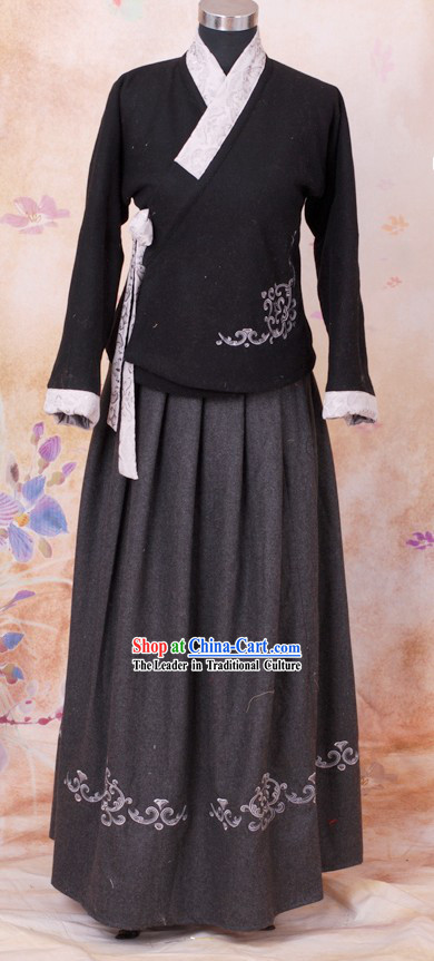 Black Han Fu Winter Jacket and Skirt Complete Set