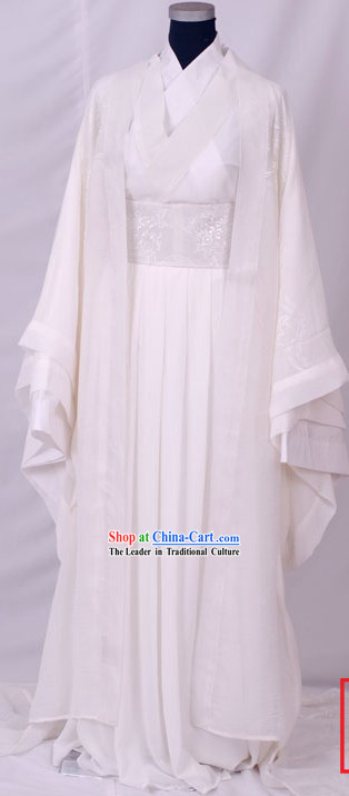 Embroidered Snowflower Han Chinese Clothing with Long Tail