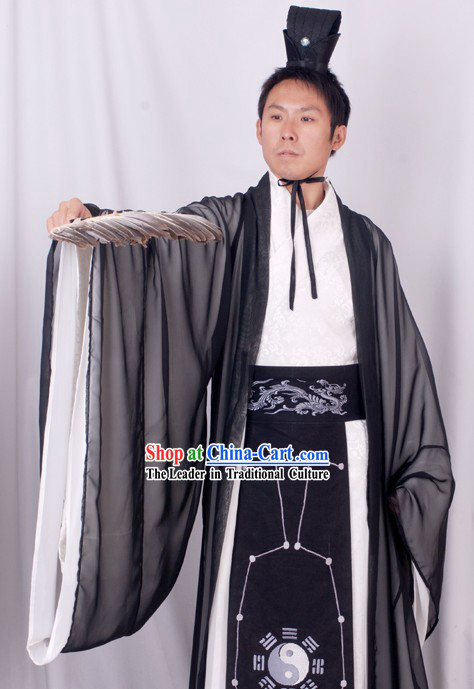 Chinese Costume Three Kingdoms Period Zhuge Liang Ba Gua Costume Complete Set for Men
