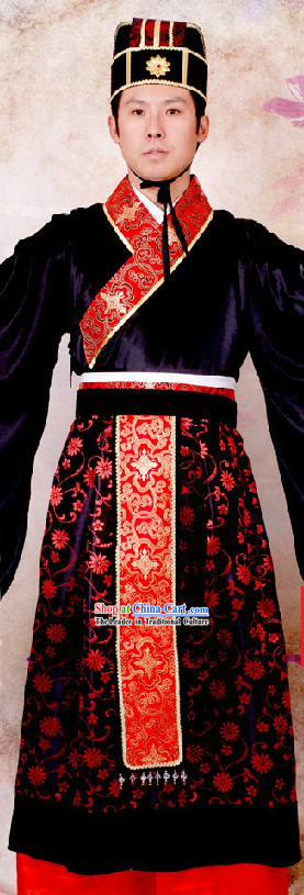 Western Zhou Dynasty Ancient Chinese Red Wedding Ceremonial Clothing for Bridegroom