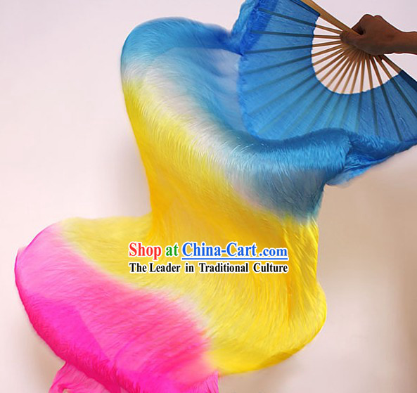 Traditional Chinese Handmade Three Colors Transition Long Silk Dance Fan