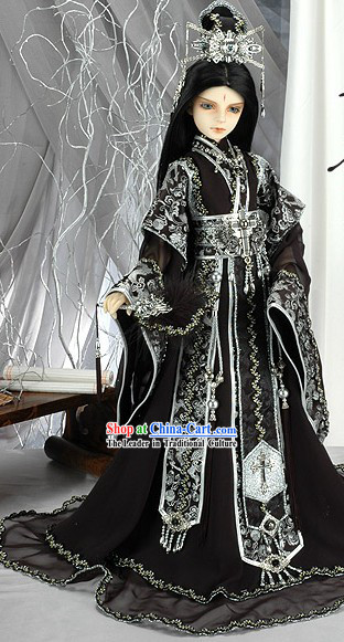 Ancient Chinese Emperor Black Dragon Costume and Crown Complete Set