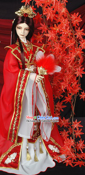 Ancient Chinese Prince Wedding Dress and Headpiece Complete Set for Bridegrooms