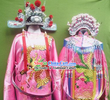 Chinese Opera Princess and Her Bridegroom Wedding Costumes and Crowns