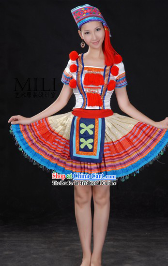 Chinese Yao Minority Dress and Hat Complete Set