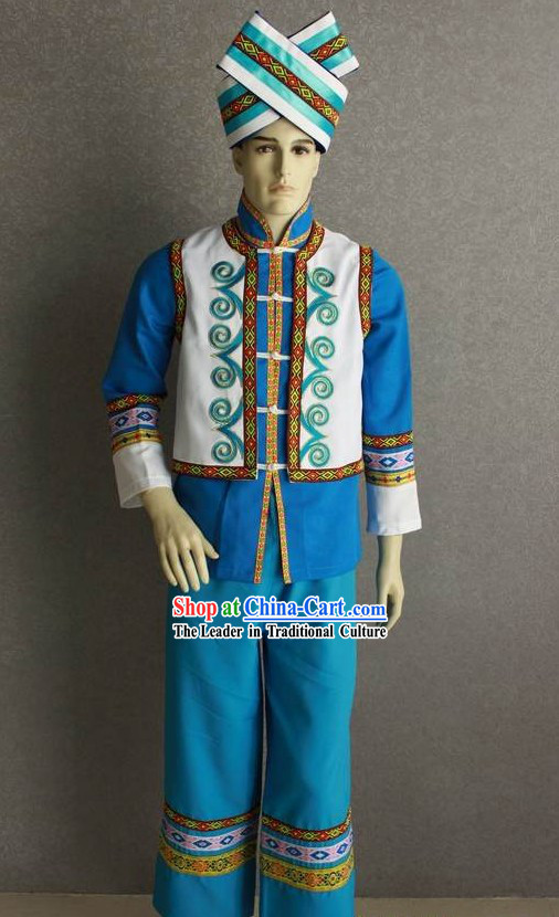 Chinese Traditional Zhuang Minority Dress Complete Set