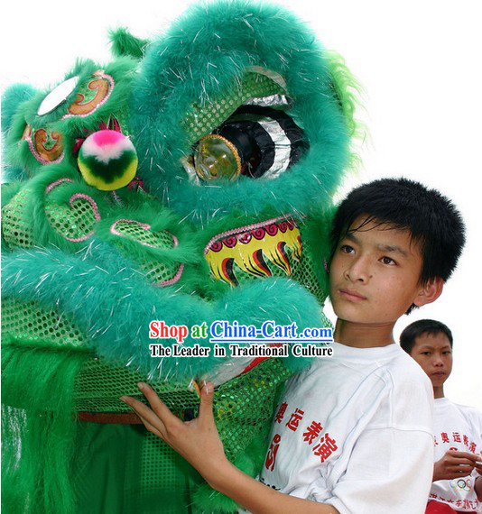 Beijing Summer Olympics Opening Ceremony Green Sheep Fur Lion Dance Costume