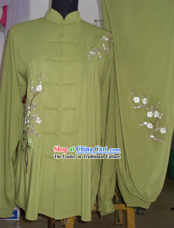 Chinese Embroidered Flower Silk Tai Chi Dress Set