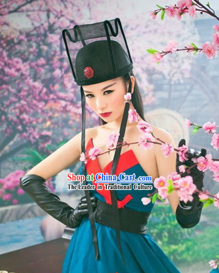 Modern Chinese Hanfu Stage Performance Costumes and Hat for Women