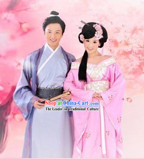 Ancient Chinese Husband and Wife Clothing 2 Complete Sets