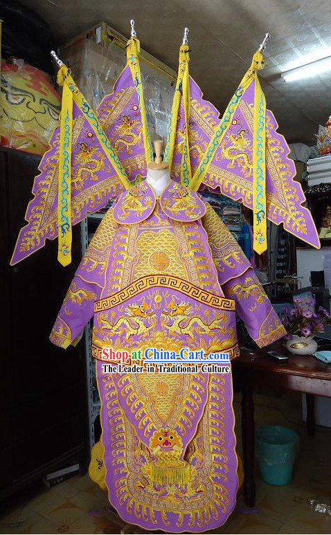 Peking Opera Military Officer Armor Costume Complete Set with Flags