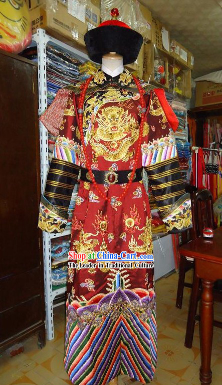 Ancient Emperor Embroidered Dragon Clothing Complete Set