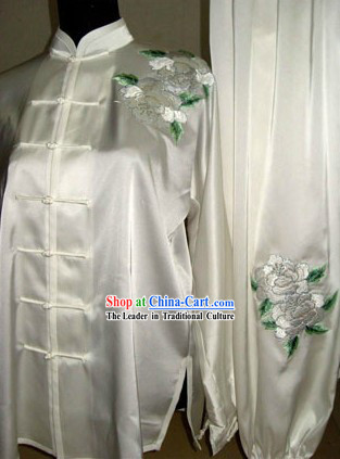 Chinese National Flower Tai Chi Silk Clothes