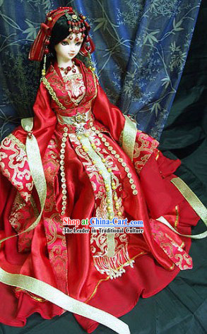 Ancient Chinese Princess Wedding Dress and Hair Accessories Complete Set