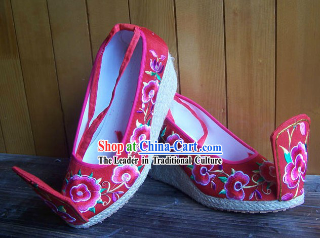 High Heel Embroidered Flower Wedding Shoes for Women