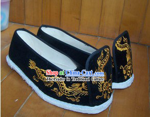Ancient Chinese Clothing Embroidered Dragon Shoes for Men