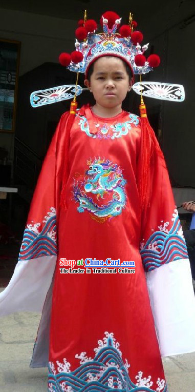 Chinese Cai Shen Costume and Hat for Kids