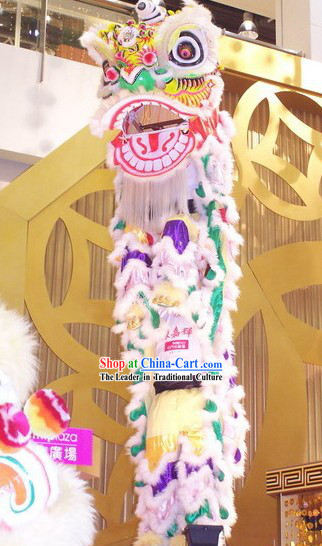 Supreme Long Wool Rainbow Color Lion Dance Costumes Complete Set