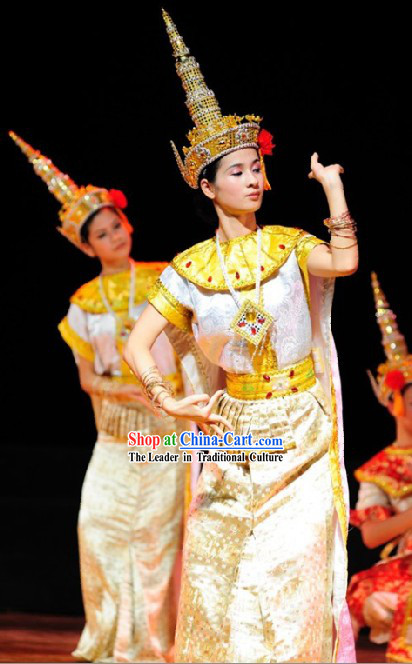 Traditional Thailand Dance Costume and Hat for Women