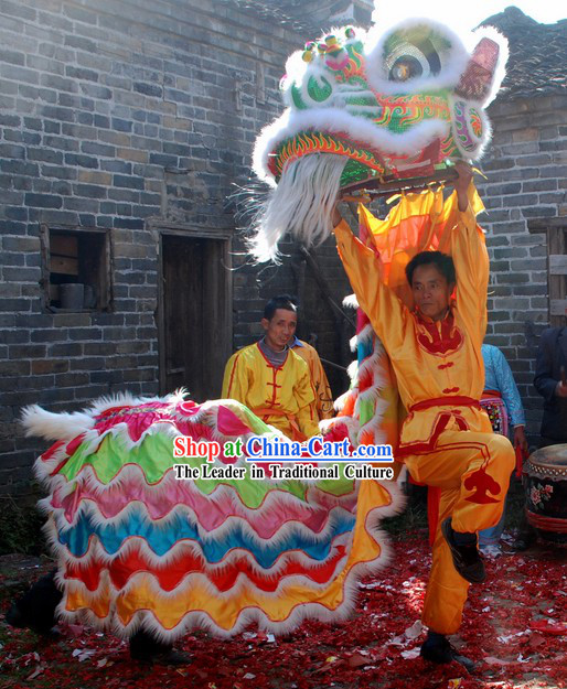 Five Colors Ceremony Chinese Lion Dance Costume Complete Set