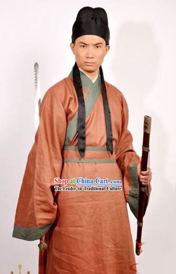 Ancient Chinese Swordsman Costume and Hat for Men