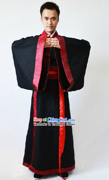 Ancient Chinese Black Hanfu Wedding Clothing for Men