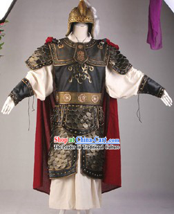 Ancient Chinese Three Kingdoms General Armor Costume and Helmet Complete Set