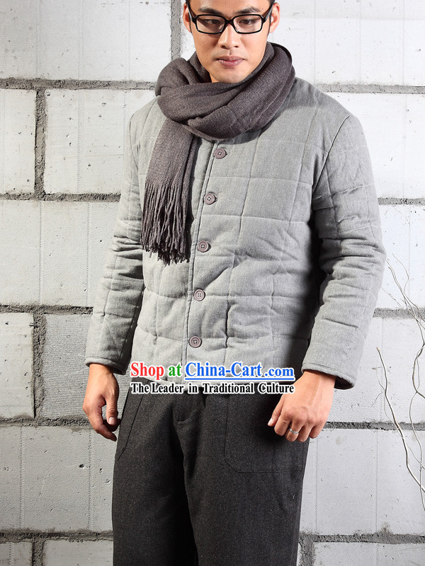 Traditional Chinese Style Grey Cotton-padded Jacket for Men