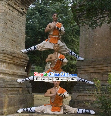 Ancient Chinese Shaolin One Shoulder Martial Arts Arhat Clothes for Men