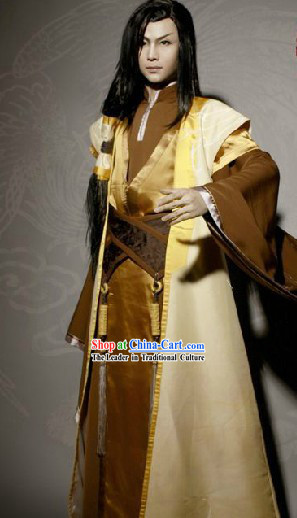 Ancient Chinese Swordsman Master Costume Complete Set for Men
