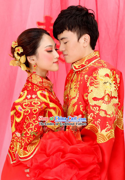 Supreme Chinese Wedding Dragon and Phoenix Wedding Dresses for Brides and Bridegrooms