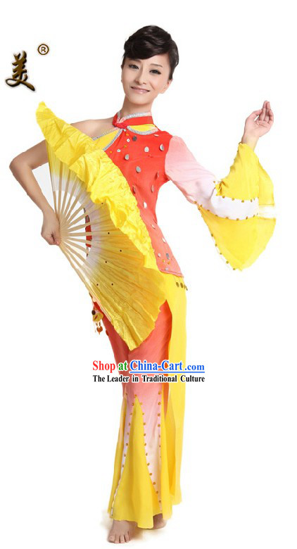 Traditional Chinese Fan Dance Costume for Women
