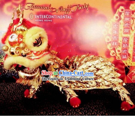 Business Opening Celebrataion Golden Lion Dance Costumes Complete Set
