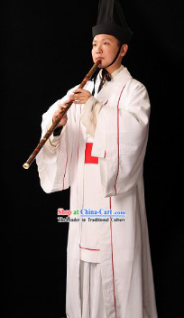 Ancient Chinese White Palace Male Musician Costumes and Hat