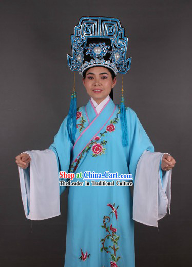 Ancient Chinese Opera Style Xiao Sheng Young Men Blue Costumes and Hat for Men