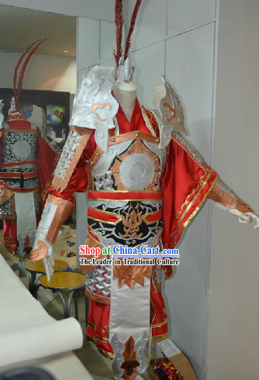 Ancient Chinese Hero Armor Costumes and Headpiece for Men