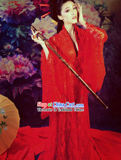 Lucky Red Long Trail Hanfu Clothing Complete Set for Women