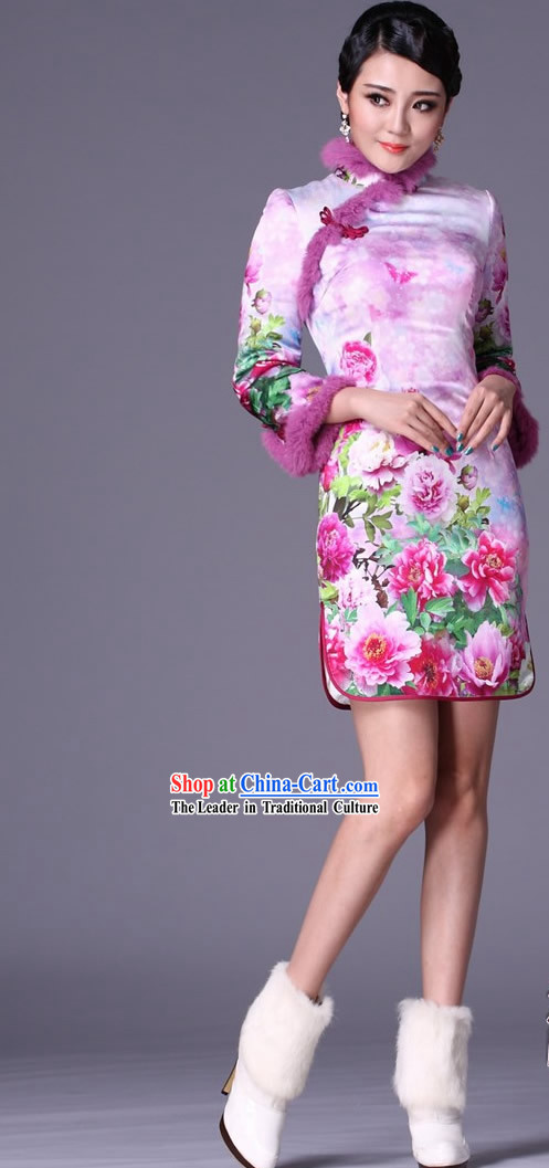 Chinese Classic Winter Jacket Style Silk Qipao